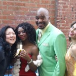 (l-r) Margaret Cho, Javalan Chew, David Alan Grier, and Jocelyn Cruz between scenes.