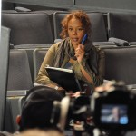 Rachel True shooting a scene.