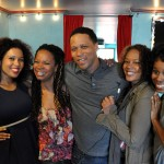 (l-r) Tamika Katon-Donegal, Daresha Kyi, Kevin Avery, Rachel True, and Giselle Jones after shooting a scene together.