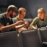 (l-r) Jason C. Brown, director Liam Sullivan and script supervisor Elissa Tedesco discuss an upcoming scene.